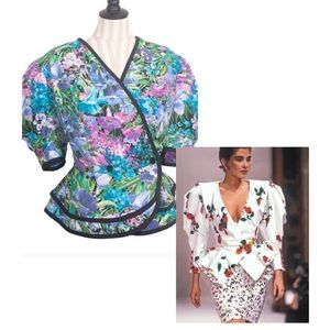 """VTG """"Tracy Richards"""" Floral Peplum Puff Sleeve Top"""